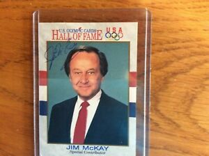 OLYMPIC great Announcer and ALL Sports the late JIM MCKAY autographed HOF Card