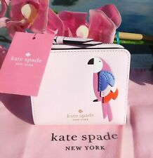 🌸 NWT Kate Spade Flock Party Parrot Small L-zip Bifold Leather Wallet New $149