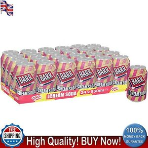 Barr American Cream Soda Fizzy Drink Cans 330ml Pack of 24 Sparkling Flavour UK
