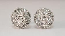 14k White Gold Earrings w/ 0.92cttw Princess Cut & Round Brilliant Diamonds
