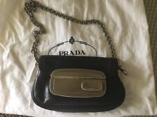 PRADA Black Leather Small Bag Clutch Silver Tone Chain Link Shoulder Bag Dustbag