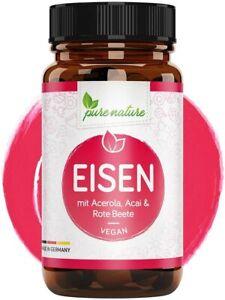 Eisen Kapseln + Pflanzliche Blutnährstoffe mit Acai Rote Beete 120 Eisen Kapseln