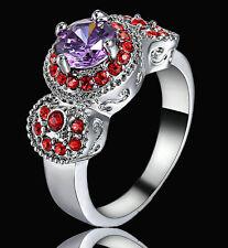 Lady/Women's 14KT white Gold Filled Purple Amethyst Bridal Wedding Ring  size 8