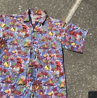 VTG ALL OVER FISH PRINT POLO SHIRT BUTTON UP LARGE VTG 90s MENS SINGLE STITCH