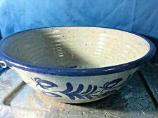 1 signed art pottery BASTINE  LARGE 12'' serving bowl  Blue bouquet  Stoneware