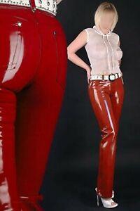 Latex Gummi Rubber Women's Jeans Leggings Pants Trousers Rose Red Customize .4mm
