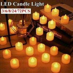72PCS Tea Lights Candles LED FLAMELESS FLICKERING Battery Operated Wedding XMAS