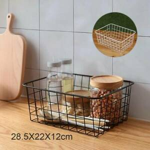 1pcs Iron Storage Basket Metal Wire Mesh Basketry Bathroom kitchen Tray Desk UK