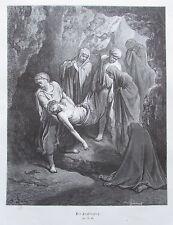 Die Grablegung von Gustave Dore - Holzstich-Tafel aus ca. 1870