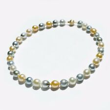 """Baroque 9-11.7MM South Sea Pearl&Tahitian Pearl Strand Necklace 14KY Gold,17.5"""""""