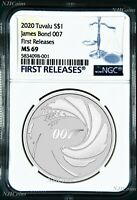 2020 James Bond 007 .9999 SILVER BULLION $1 1oz COIN NGC MS69 First Releases
