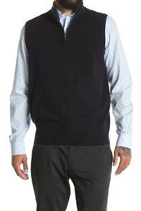 John W. Nordstrom Men's Italian Cashmere Quarter Zip Sweater Vest Navy Size M