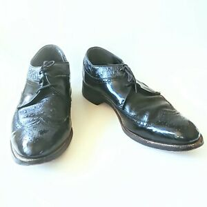 Vintage Stacy Adams Black Patent Leather Ostrich Wing-Tips Shoes 8.5 D