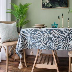 Vintage Rectangular Tablecloth Jacquard Tassel Table Cloth Cover Tea Home Decor