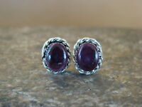 Native American Sterling Silver Purple Spiny Oyster Post Earrings Zuni