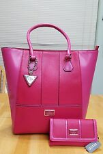 Guess Raspberry Pink Tote / Shoulder Bag  / Purse NWT w/ match Wallet