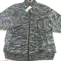 New Buffalo David Bitton Faux Fur Lined Full Zip Sweater Jacket, Navy, Size XL