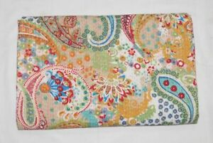 New Paisley Print Indien Traditional Cotton Kantha Quilt Throw Blanket Bedspread