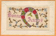 Embroidered Silk Postcard - Bonne Annee Happy New Year Horseshoe