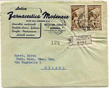 1951 Italia al Lavoro RACCOMANDATA Antica Farmaceutica Modenese Droghe Modena