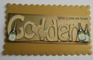 PK 2 WITH LOVE IN YOUR GOLDEN ANNIVERSARY TOPPERS FOR CARDS AND CRAFTS