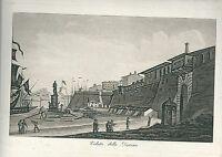1831 LIVORNO VEDUTA DELLA DARSENA acquatinta originale Gandini Toscana