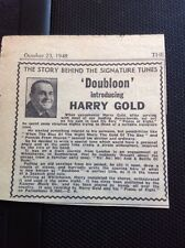 Ephemera 1948 Article Doubloon Harry Gold Story Behind The Tune f1f