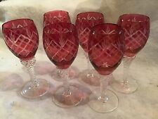 "Cranberry Cut To Clear (6) Wine Goblets 5 7/8"" Tall Holds 4oz MINT"