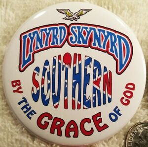 Lynyrd Skynyrd PIN BUTTON Southern By The Grace Of God Red White and Blue Rare