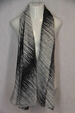 Black White Gray Monochromatic Gradient Stripes Lightweight Scarf Pashima Shawl