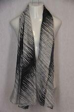 Black White Gray Monochromatic Gradient Stripes Lightweight Scarf Pashima Shawl