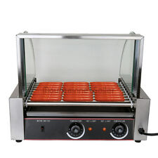 Commercial 24 Hotdog Stainless Grill 9 Roller Hot Dog Cooker Machine W/cover