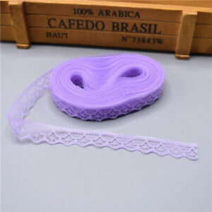5yards Lace Ribbon Tape Width 14MM Trim Fabric DIY Embroidered lace Light purple