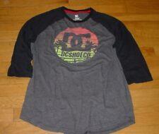 Vtg DC Shoes Jersey Raglan T Shirt Gray/Black Sun set Tropical Logo L SURF/SKATE