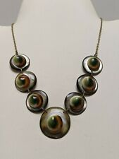 ANTIQUE VICTORIAN CATSEYE OR OPERCULUM NECKLACE SET IN MOTHER OF PEARL