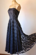 WHIMSICAL VINTAGE 80's FRENCH LACE STRAPLESS PARTY DRESS 8