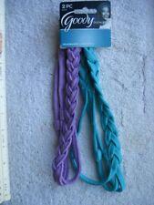 2 Soft Goody Ouchless 3 Strand Braided Blue Purple Hair Head Bands Aqua Lilac