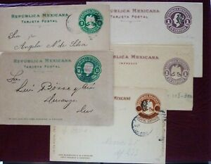 Mexico Early '900 Small Lot of Five Postal Entire Used+Unused