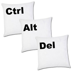 """Set di 3 federe cuscini """"Ctrl + Alt + Del"""", tasti tastiera computer, divertenti"""