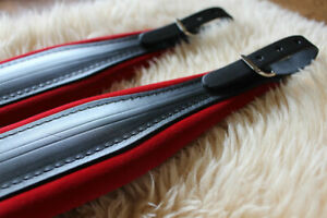 Accordion Straps with Back Strap Italian Black Leather & Red Velvet Deluxe fit