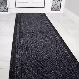 Grey Black Rubber Backed Very Long Hallway Hall Runner Narrow Rugs Custom Length