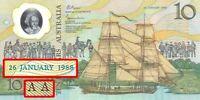 Australia 1988 CFU $10 AA03 177653 +Ovpt Bicentenary Polymer Banknote issue r310