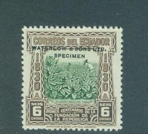 Ecuador 1930, 6c tobacco, trial color, NO punch hole, WATERLOW SPECIMEN, #307