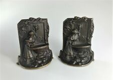 Antique 1920s Solid Bronze Bookends