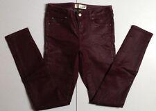 TOPSHOP moto jeans ciré effet skinny stretch slim bordeaux H/Taille 26 Jambe 32