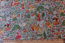 Vintage Conversational Animal & People Exotic Cotton Fabric Toile c1920