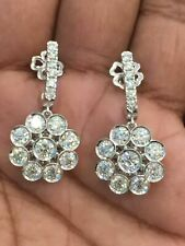 585 Stamped 14K White Gold 5.30 Cts Round Brilliant Pave Diamonds Stud Earrings