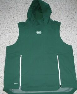 NEW YORK JETS TEAM ISSUE NIKE SHIELD SLEEVELESS HOODIE POUCH POCKET VENTED BACK
