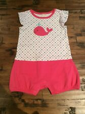 NWT Gymboree Girls Newborn Essentials Pink Whale Romper Outfit 6-12 M