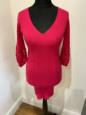 Karen Millen Pink Wool Embroidered Sleeves Knit Jumper Tunic Dress 2 Size 10